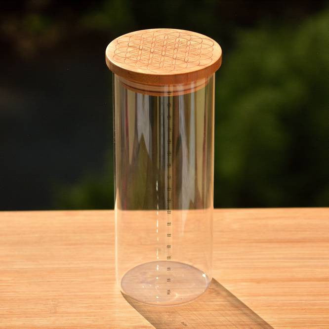 Borosilicate Kitchen Jar Heat Resistant with Open FLower Engraved Bamboo Wood Lid