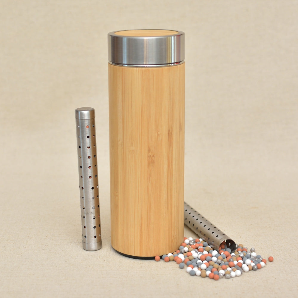 NEW Alkaline Hydrogenated Water Bottle Thermos with Natural Mineral Crystal Particles Stick (Zn, Mg, Fe, Ag Si, more than 7 minerals)