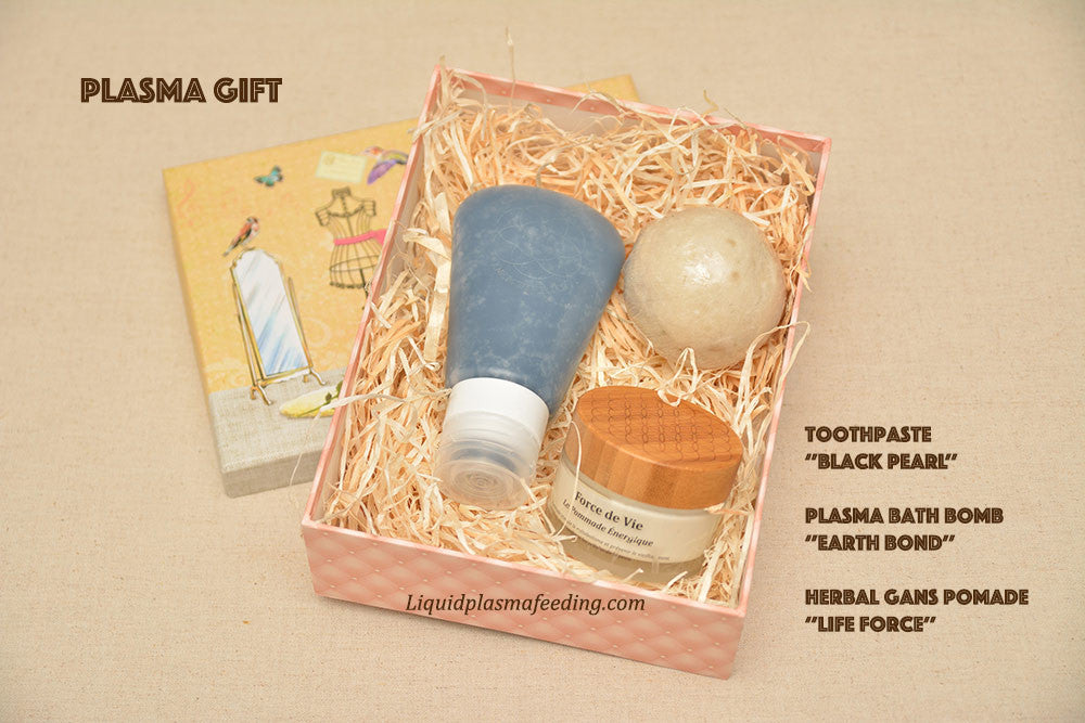 Plasma Gift Box - bath bomb, black toothpaste and herbal plasma water pomade