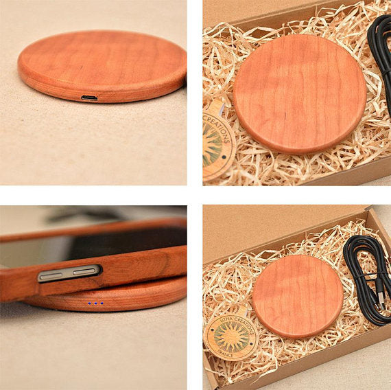 QI Charger Pad with Customized Engraved Cherry Wood design ''ATOM''