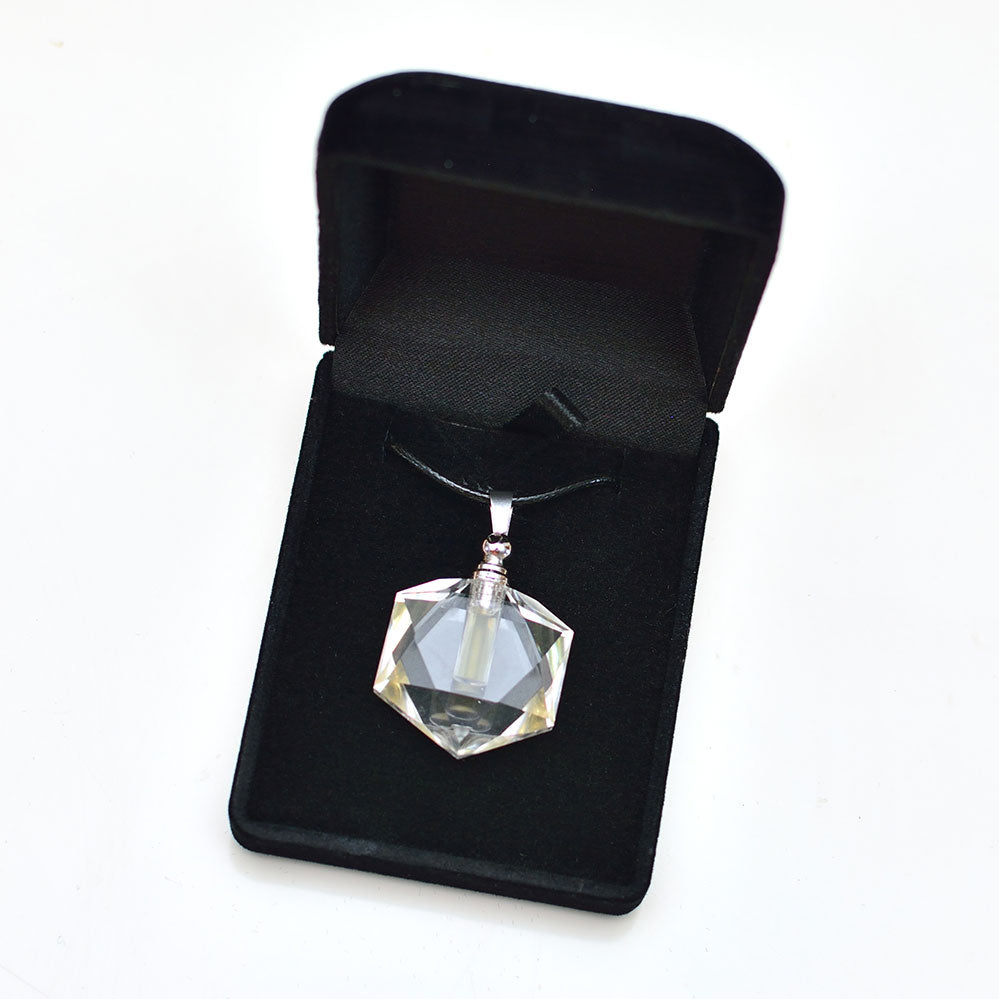 Silver Merkaba Quartz Crystal Necklace Pendant with Liquid Plasma Water Life Force Frequencies