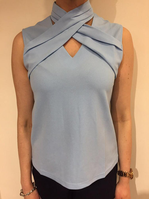 St Maine sleeveless high neck crossover top