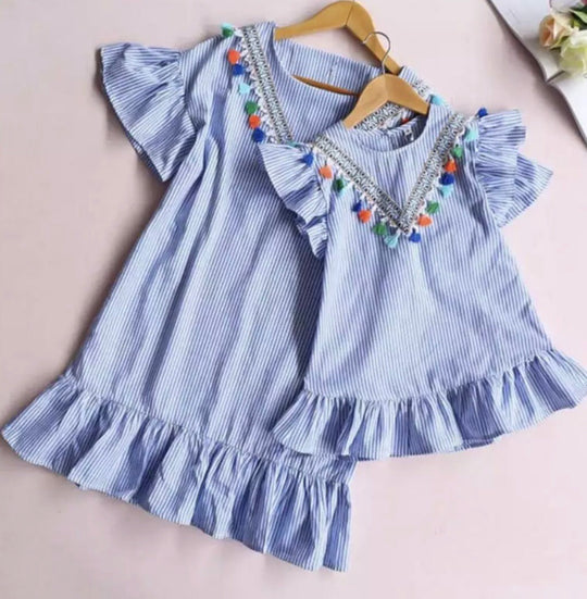Mummy & Me - blue striped dress (1)