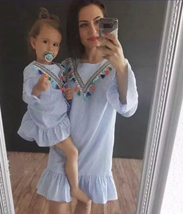 Mummy & Me - blue striped dress