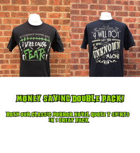 Frankenstein and Dracula quote t-shirts money saving deal package from Nameless City Apparel