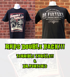 Terrible Thrills and Dr Furter's horror t shirt double pack inspired by The Rocky Horror Picture Show