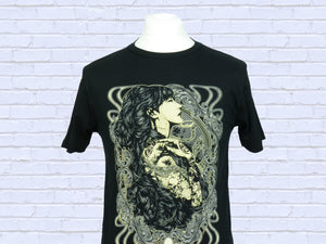 Art Nouveau style tattooed girl hand screen printed organic cotton black t shirt