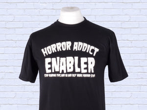 Horror Addict Enabler screen printed black t shirt