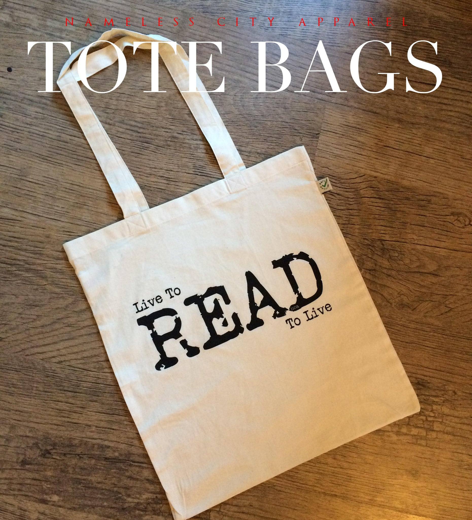 Cotton totebag printed with Live to Read Read to Live