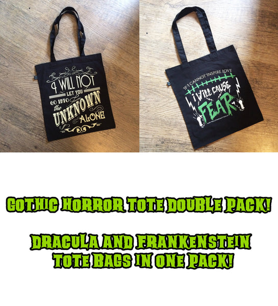 Dracula and Frankenstein book quote tote bag double pack