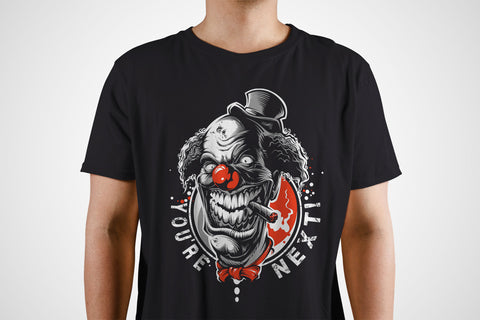 You're Next! Evil Clown Hand Screen Printed Horror T Shirt
