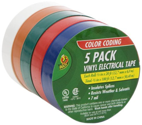 Duck Brand Colored Electrical Tape, 1/2-Inch by 20 Feet, 5-Pack Multi-Color