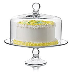 Libbey Selene Cake Dome 2-Piece Set, Clear Glass Cake Stand