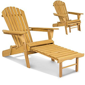 Outdoor Patio Deck Garden Foldable Adirondack Wood Chair with Pull Out Ottoman
