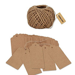Paper Gift Tags with 100 Feet Natural Jute Twine
