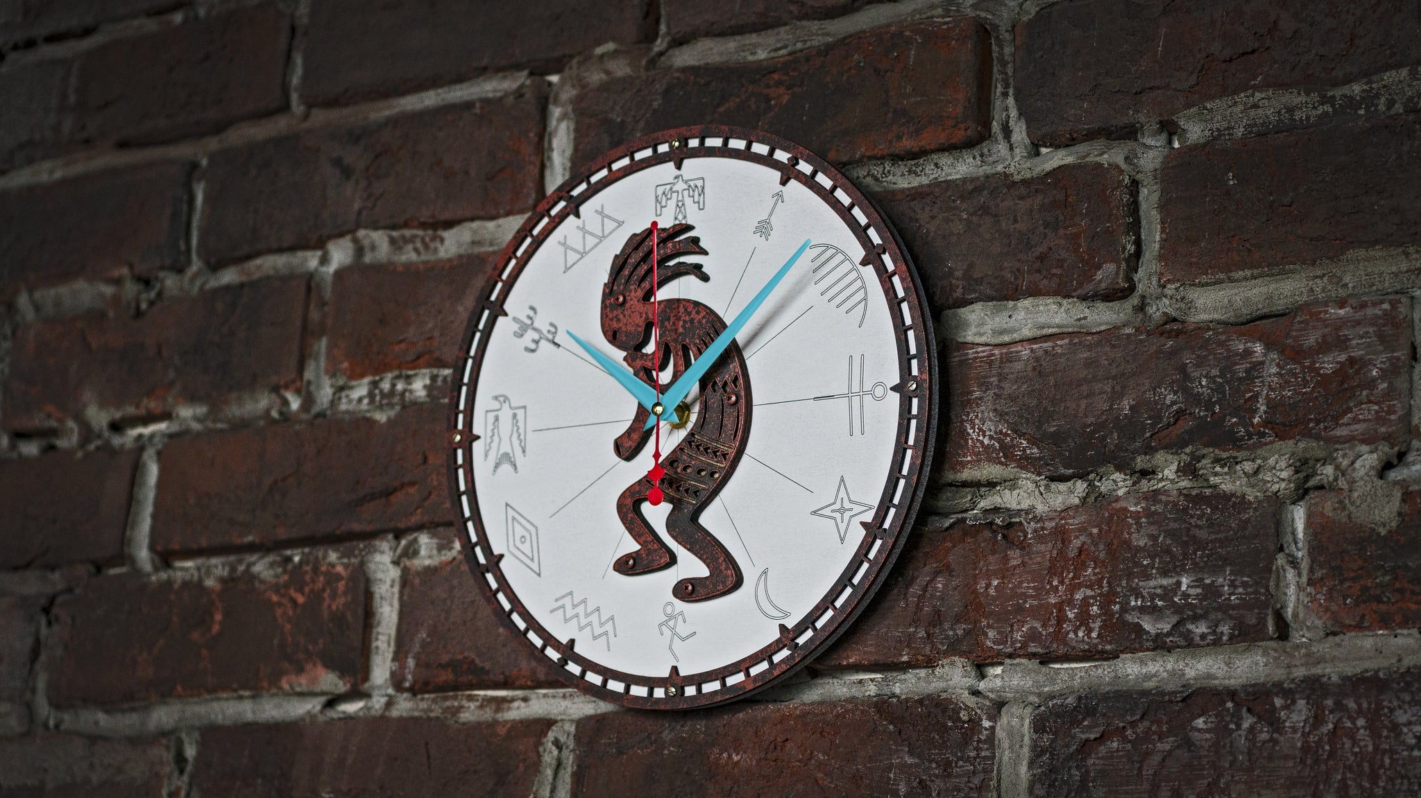 Kokopelli Rusty Metal Wall Clock - WOODANDROOT