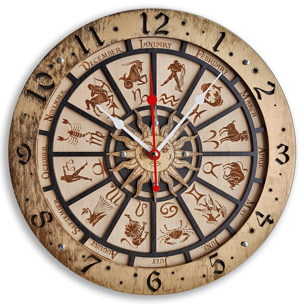 Zodiac Signs Wall Clock - WOODANDROOT