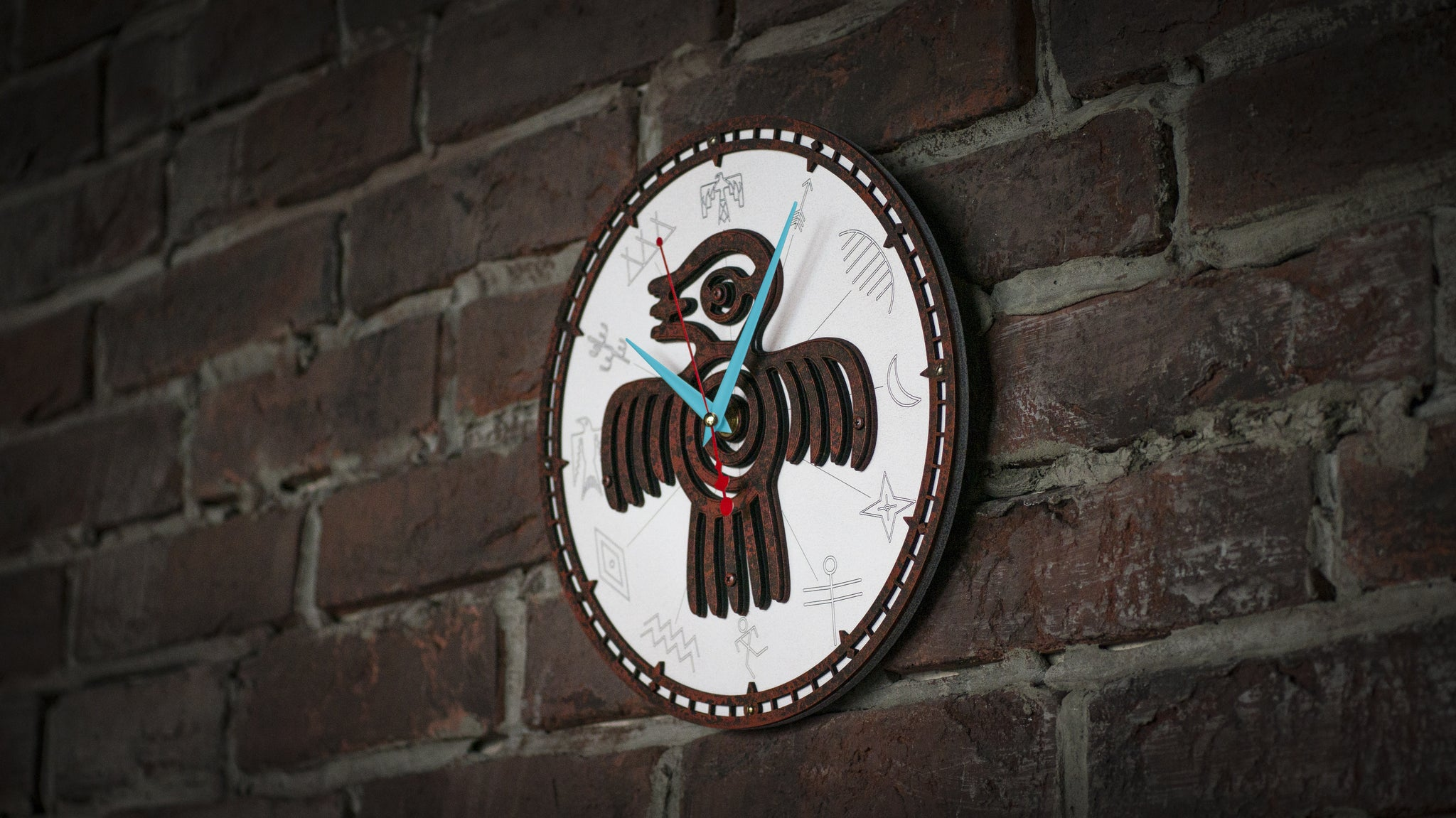 Aztec Spirit Bird Rusty Metal Wall Clock - WOODANDROOT