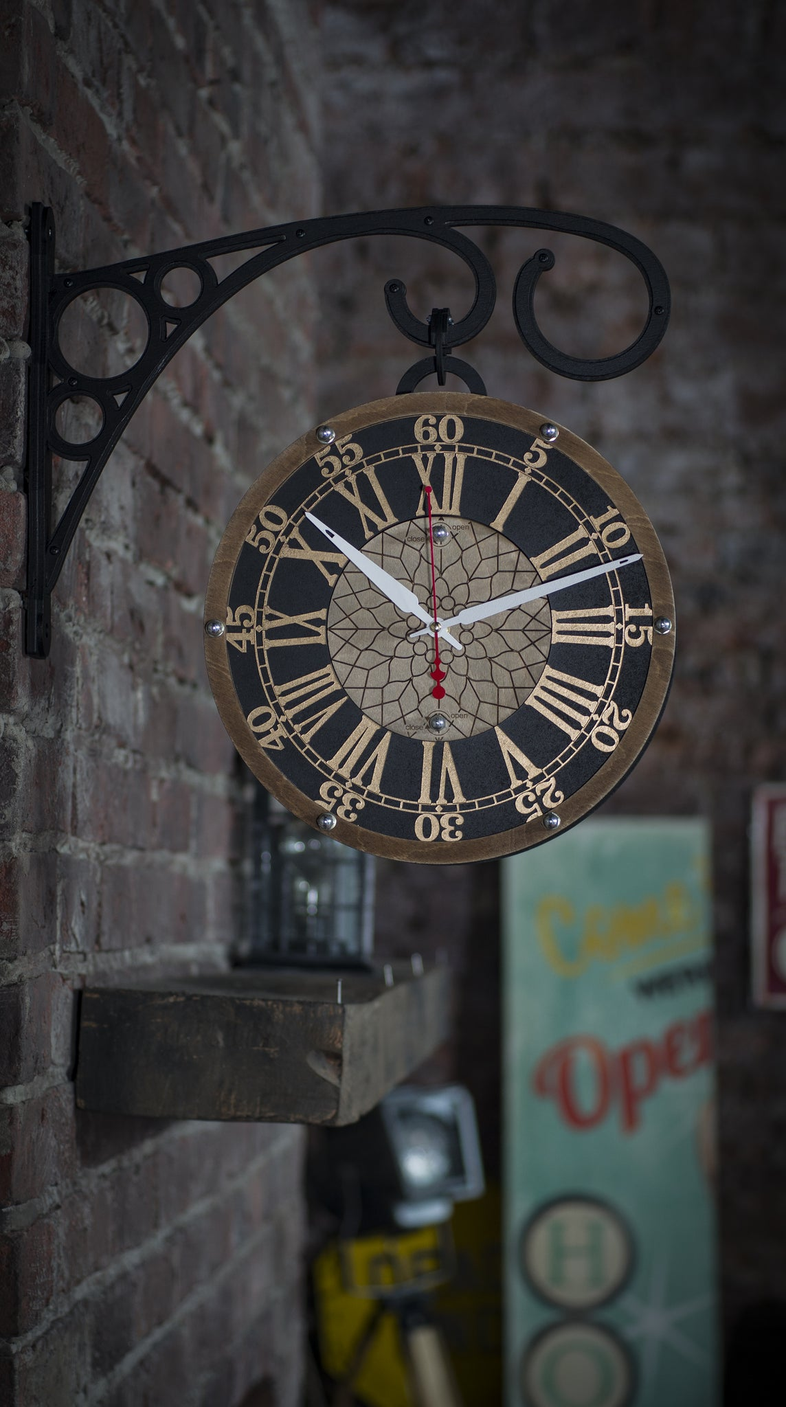 Station Double Sided Wall Clock - WOODANDROOT