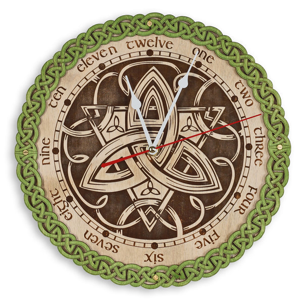 Triquetra Celtic Wall Clock - WOODANDROOT