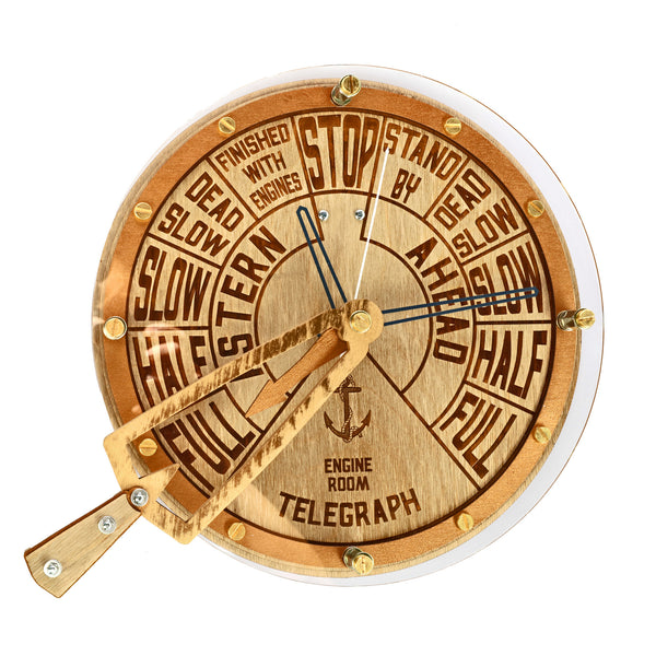 Engine Order Telegraph With Moving Handle Wall Clock - WOODANDROOT