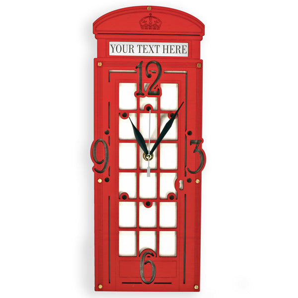 Red London Telephone Booth Wall Clock - WOODANDROOT