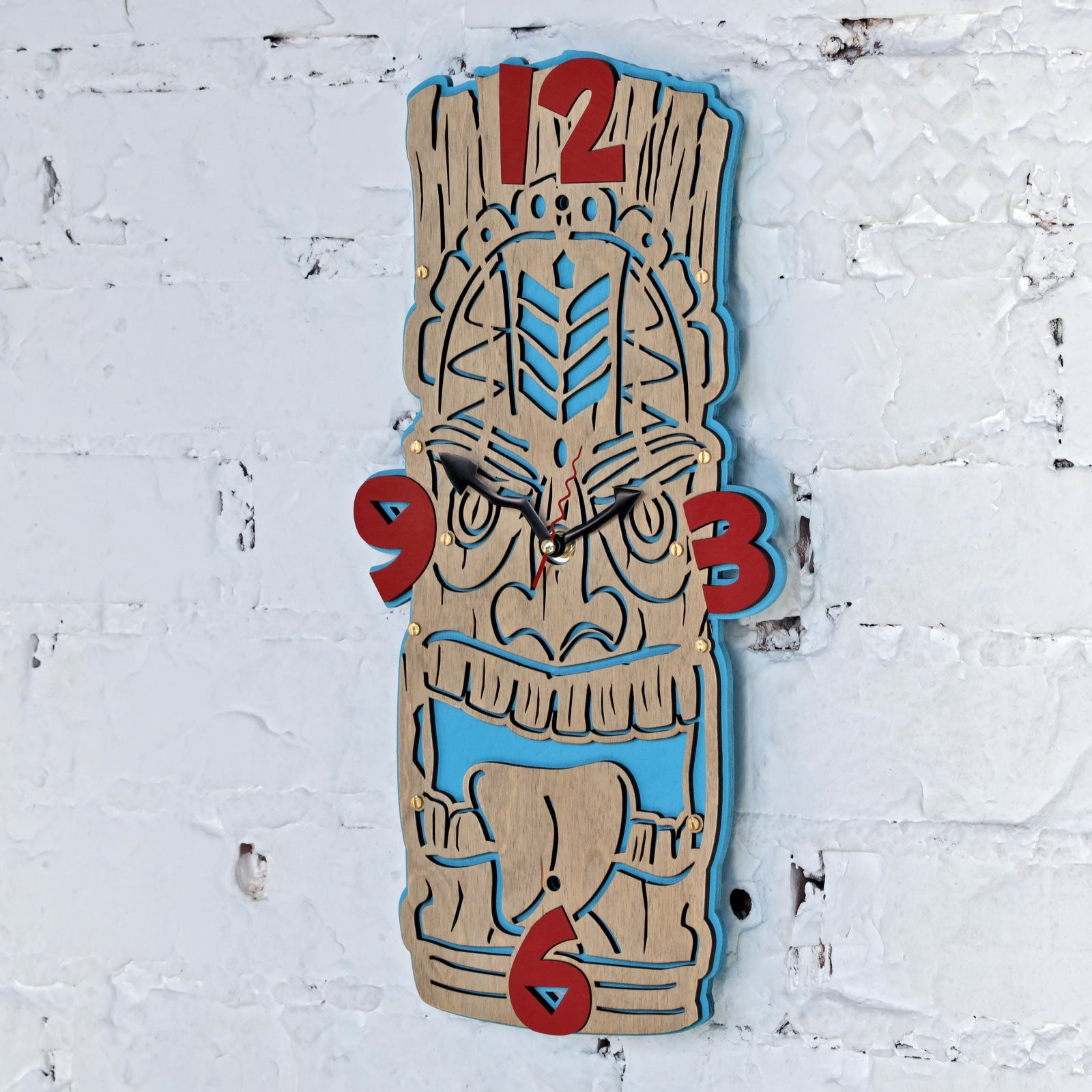 Hawaiian Tiki II Wall Clock - WOODANDROOT