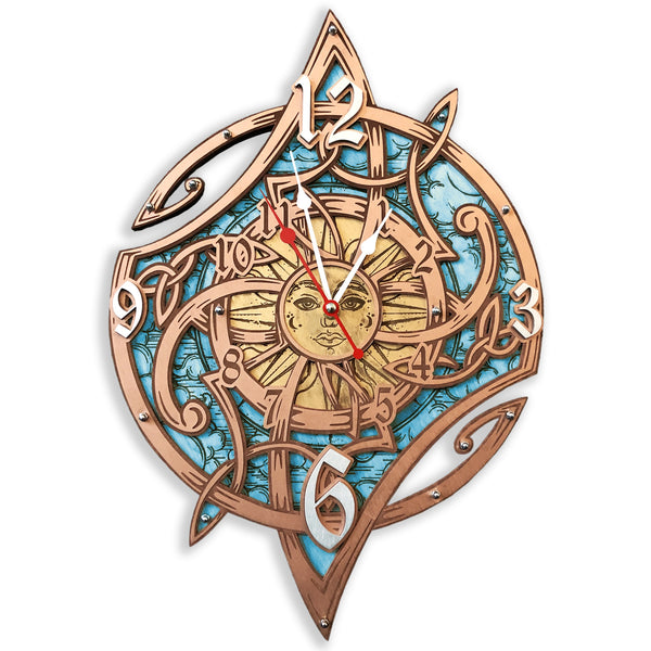 Celtic Magic Sun Wall Clock - WOODANDROOT