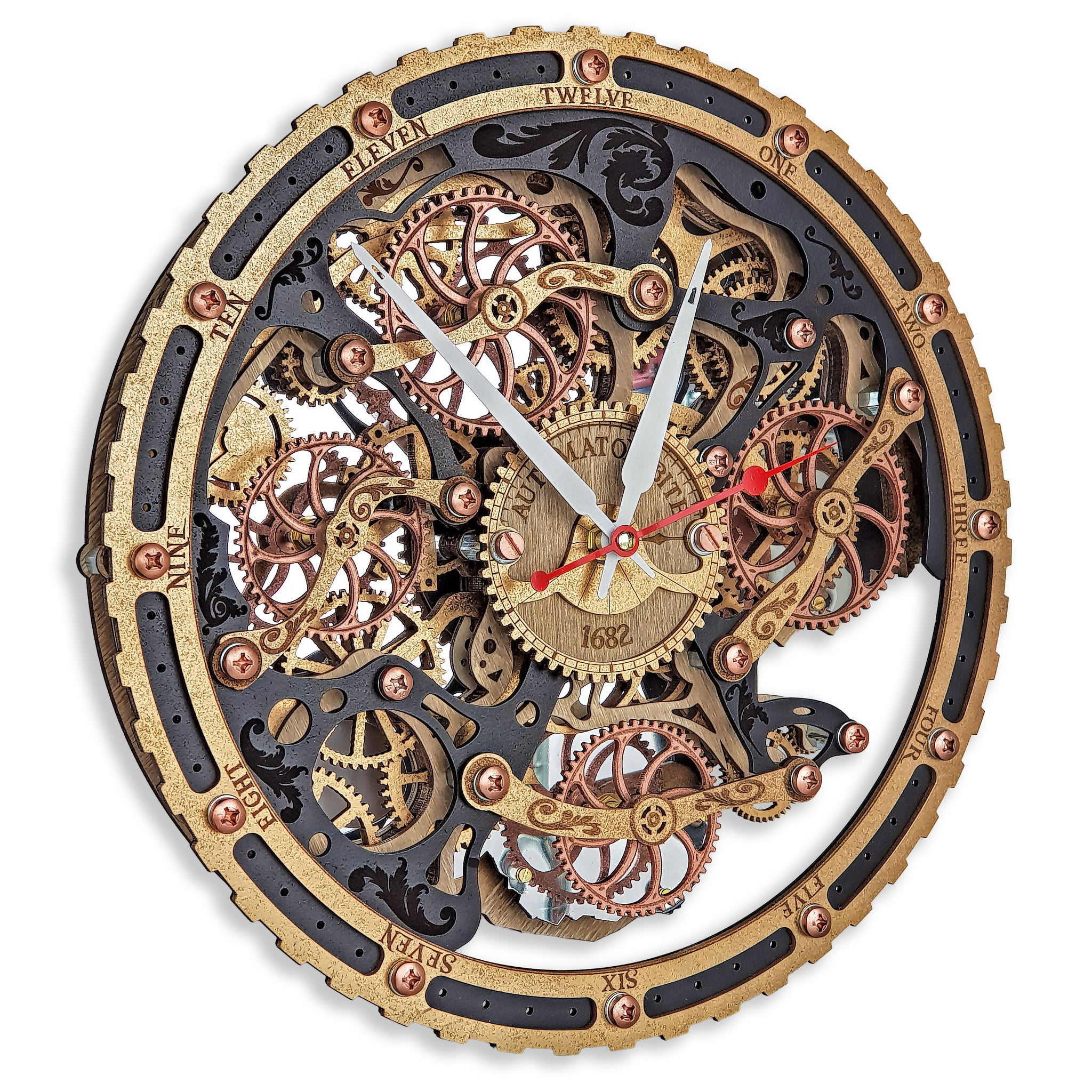 Automaton Bite 1682 Black Gold Full Circle Wall Clock