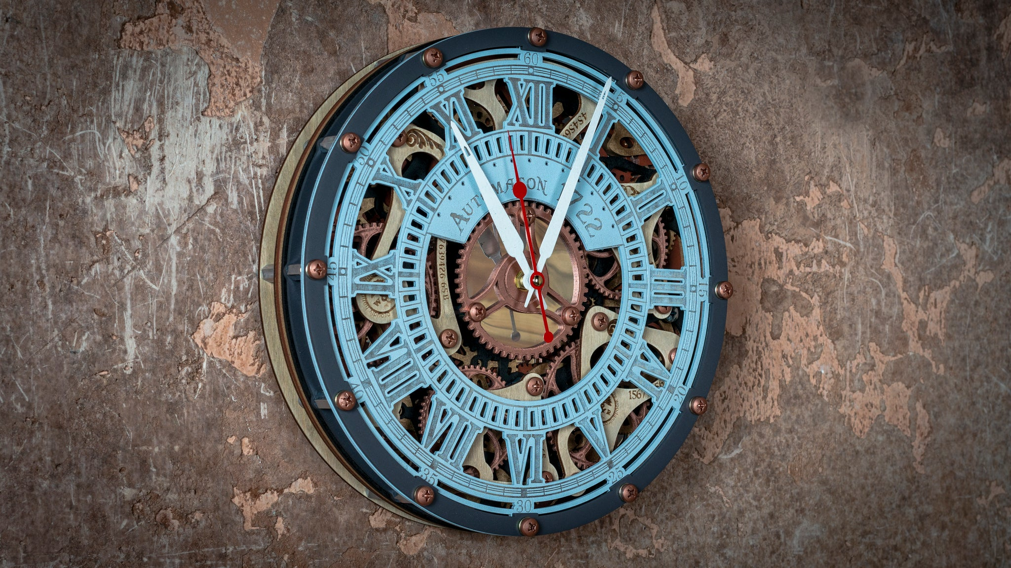 Automaton Skeleton 1722 Ice Pastel Wall Clock - WOODANDROOT