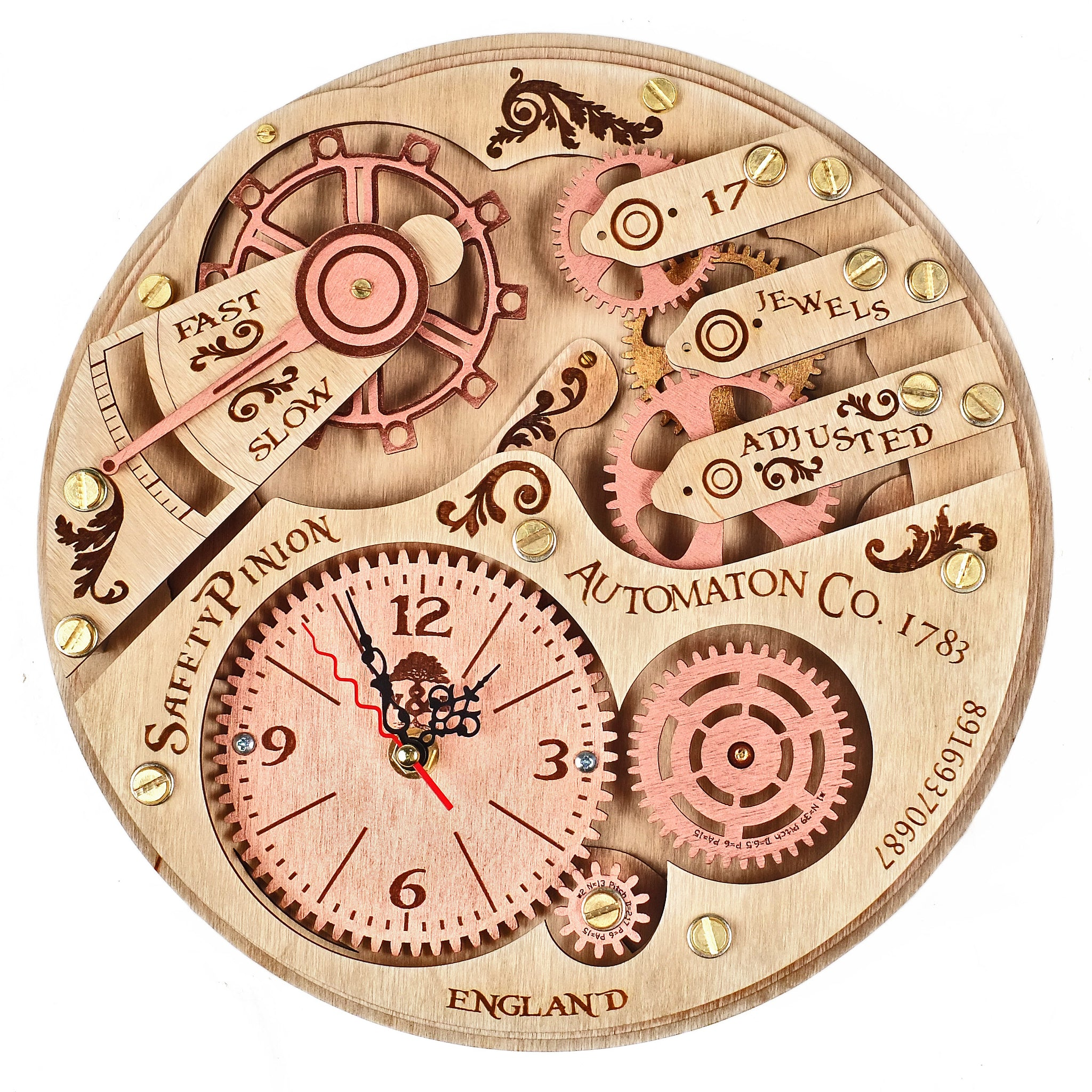 Automaton 1783 Moving Gears Wall Clock - WOODANDROOT