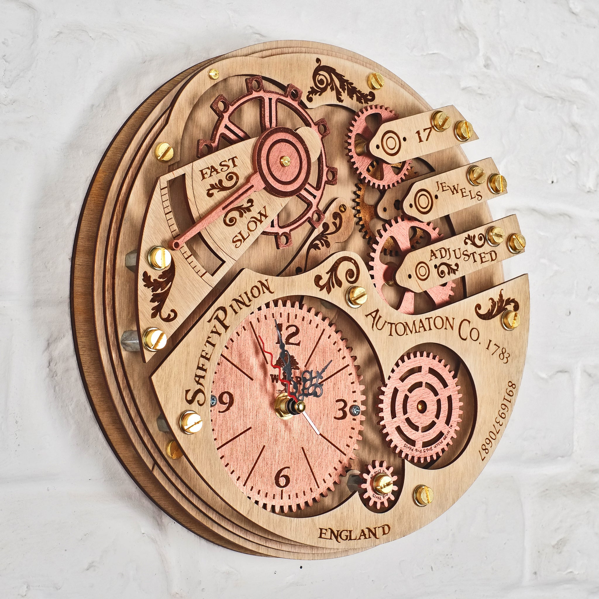 Beautiful Automaton 1783 Moving Gears Wall Clock   WOODANDROOT