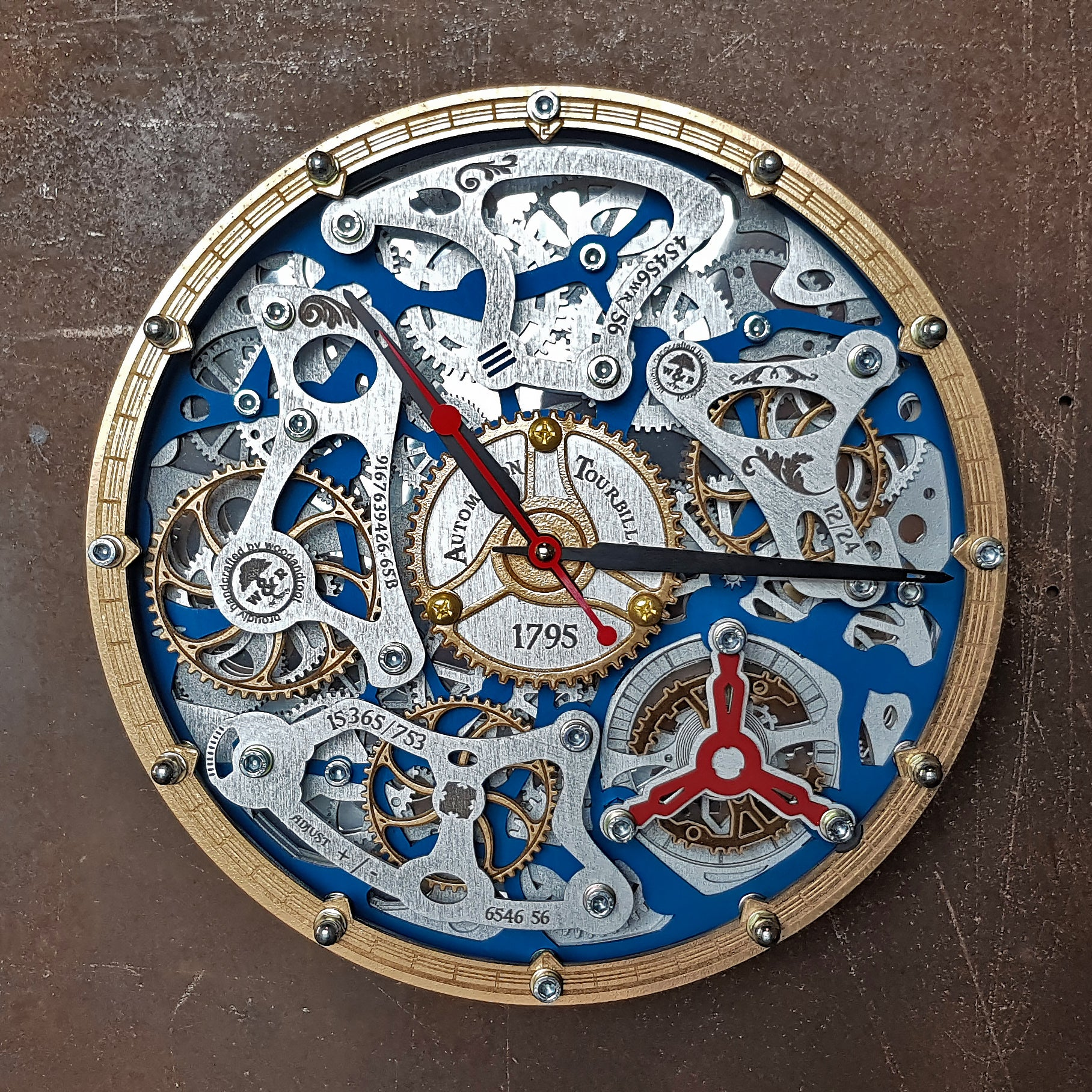 Automaton Tourbillon Blue Wall Clock - WOODANDROOT