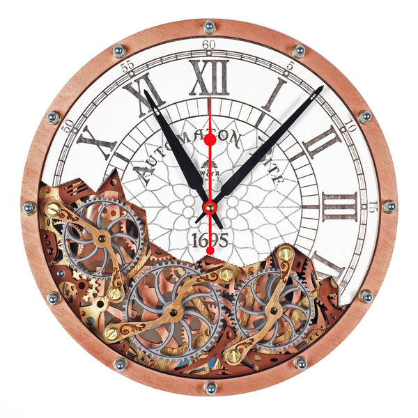 Automaton Bite 1695 White and Copper Wall Clock - WOODANDROOT