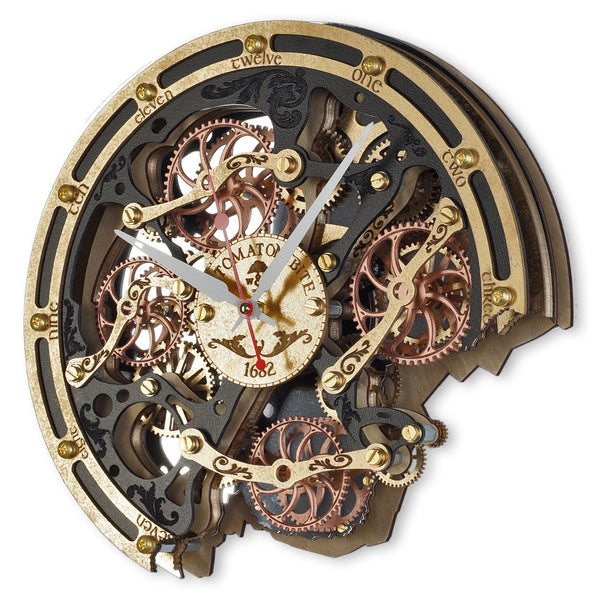 Automaton Bite 1682 Black Gold Wall Clock - WOODANDROOT