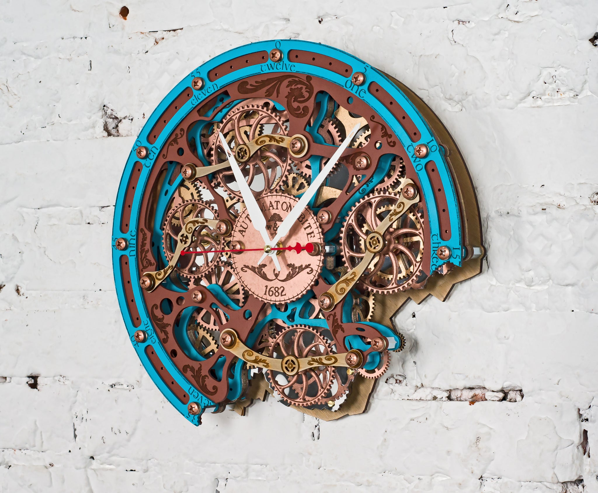 Automaton Bite 1682 Turquoise Brown Wall Clock - WOODANDROOT