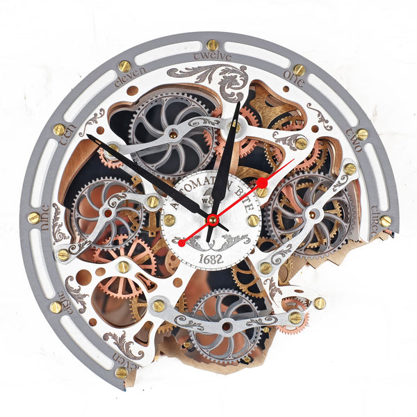 Automaton Bite 1682 White Wall Clock - WOODANDROOT