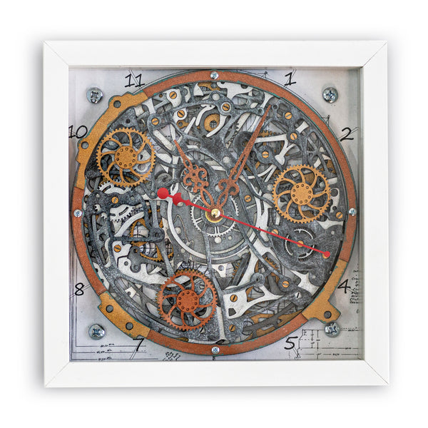 Automaton 1868 Draft Design Framed Wall Clock - WOODANDROOT
