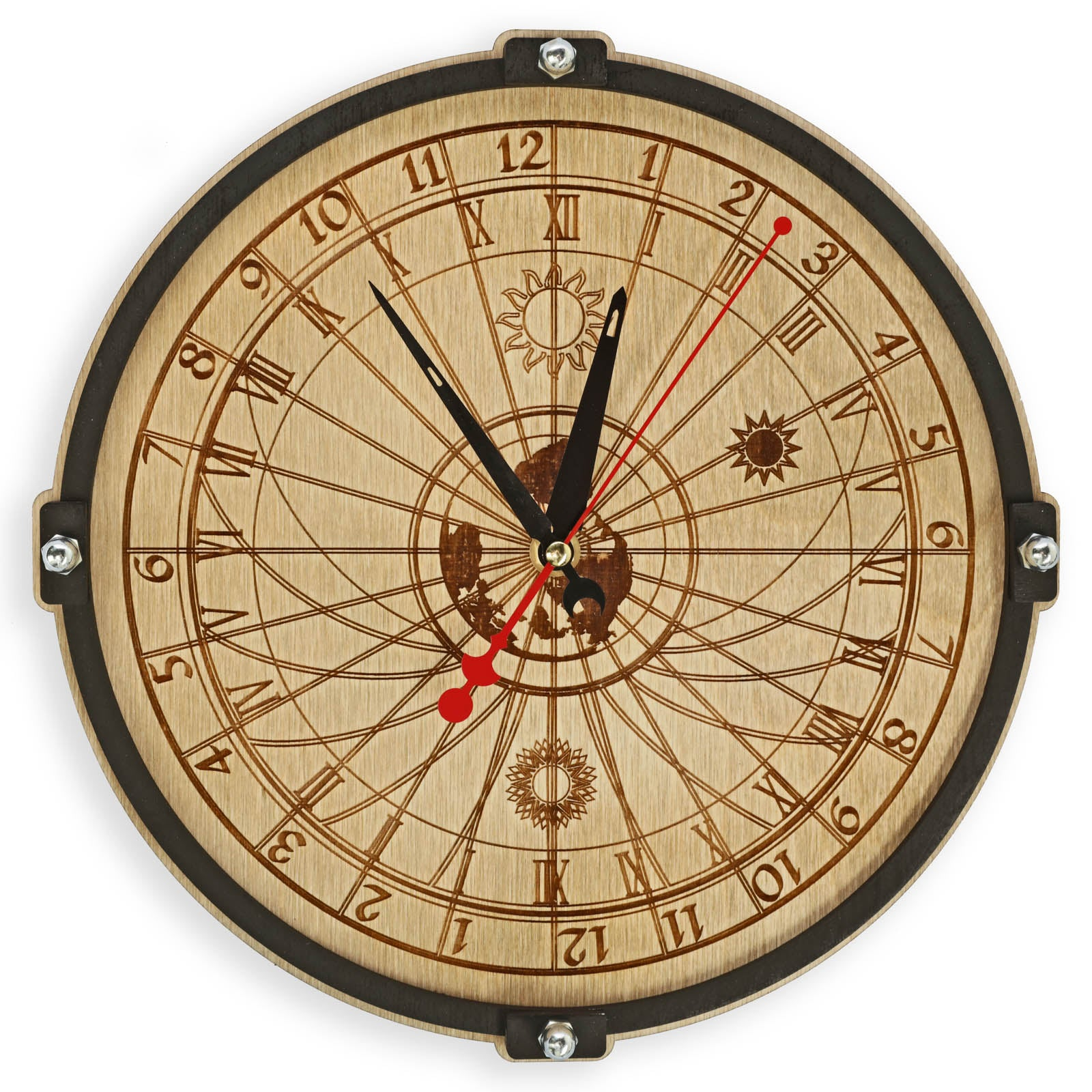 Buy Celestial Bodies 24 hour Wall Clock at WOODANDROOT for only $39.50