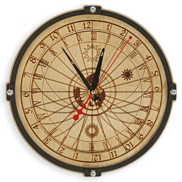 Celestial Bodies 24 Hour Wall Clock - WOODANDROOT