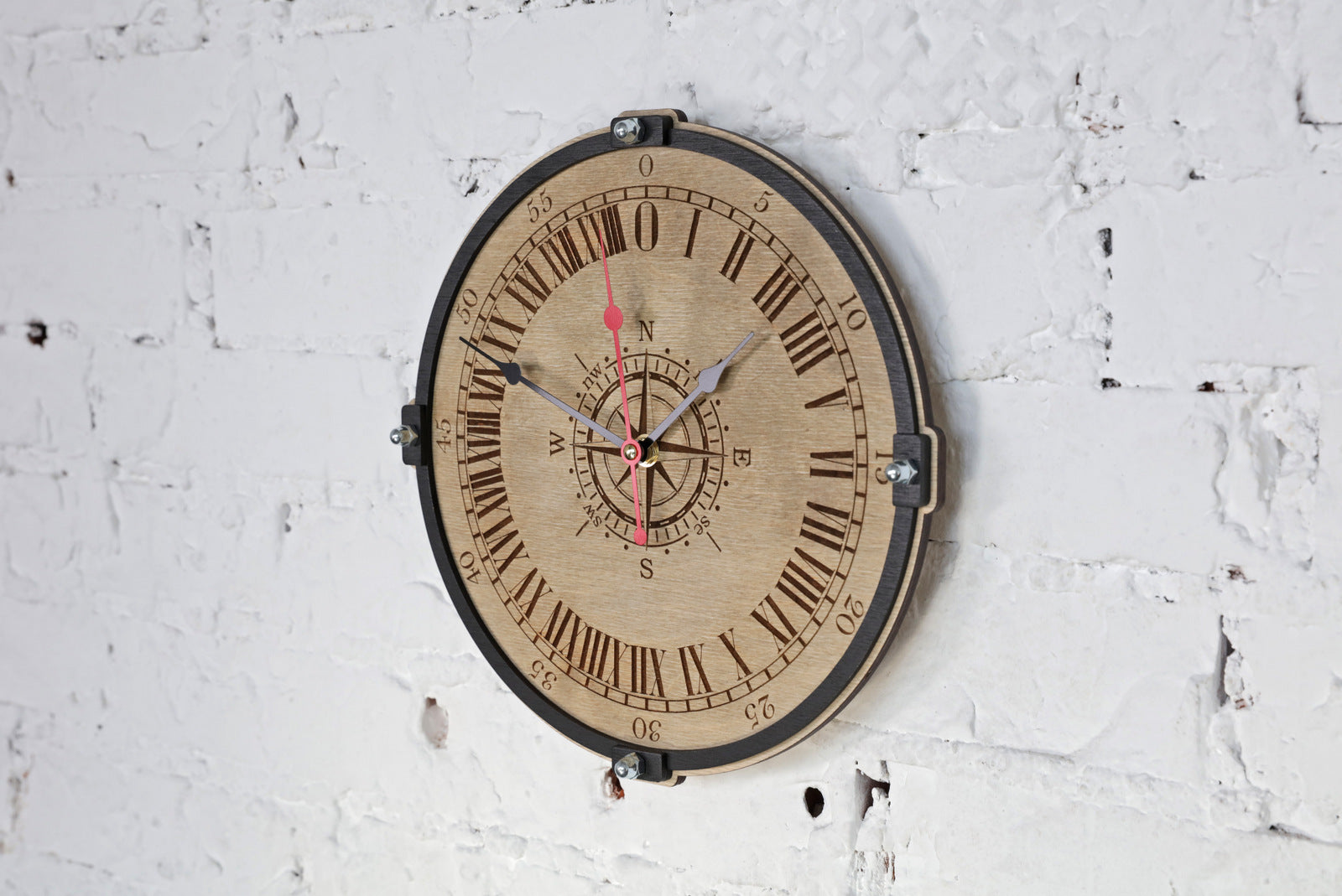 Wind Rose 24 Hour Wall Clock - WOODANDROOT