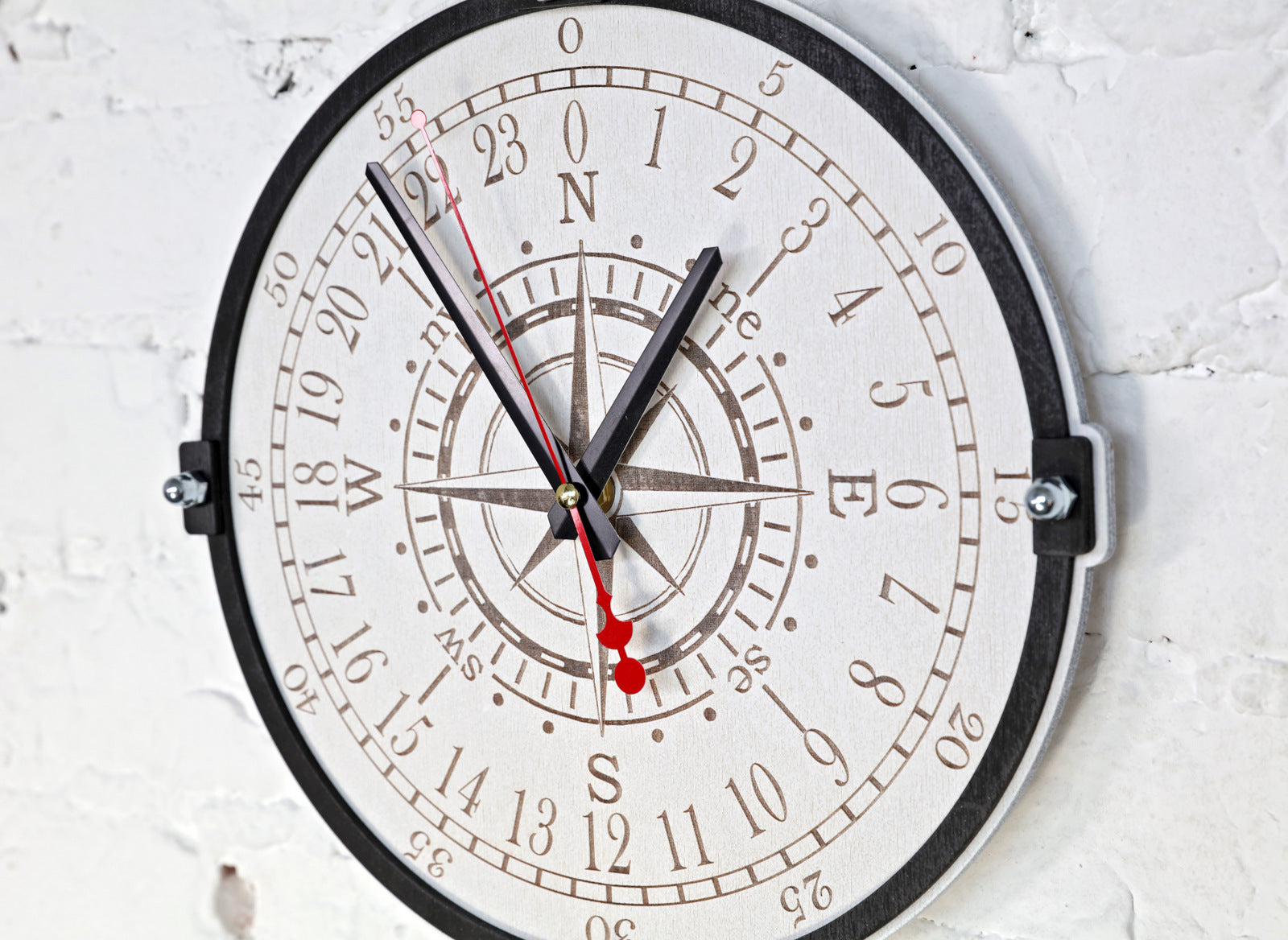 Wind Rose White 24 Hour Wall Clock - WOODANDROOT