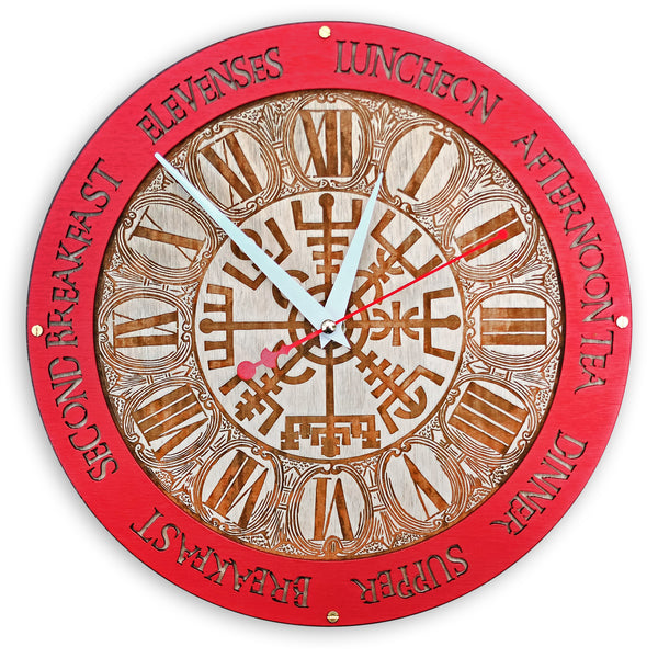 Vegvisir Viking Meal Times Wall Clock - WOODANDROOT