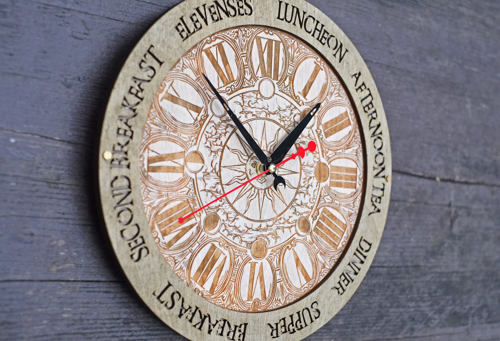 Sun and Moon Meal Times Wall Clock - WOODANDROOT