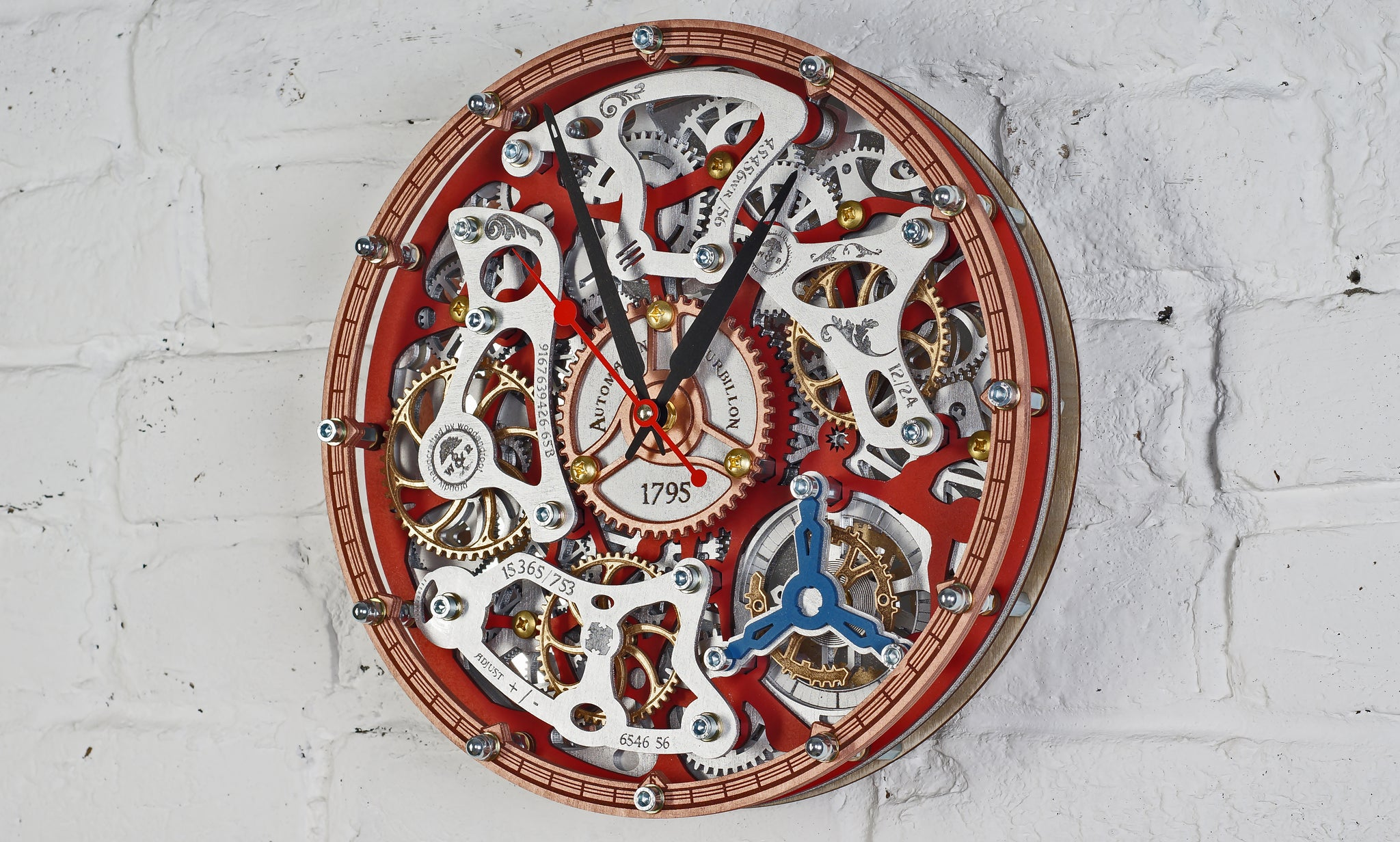 Automaton Tourbillon Red Wall Clock - WOODANDROOT