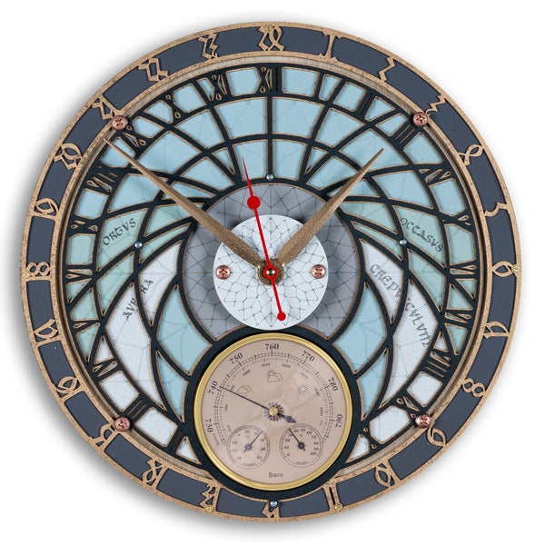 Wizard Tower Meteorology 24 Hour Wall Clock - WOODANDROOT
