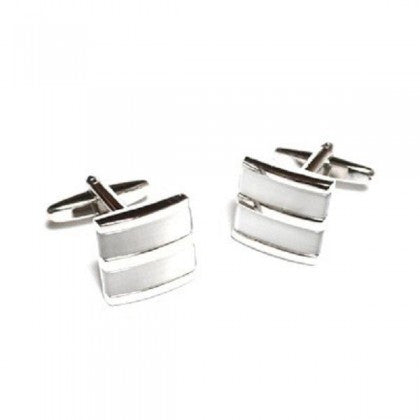 Pearlised White Curved Cufflinks