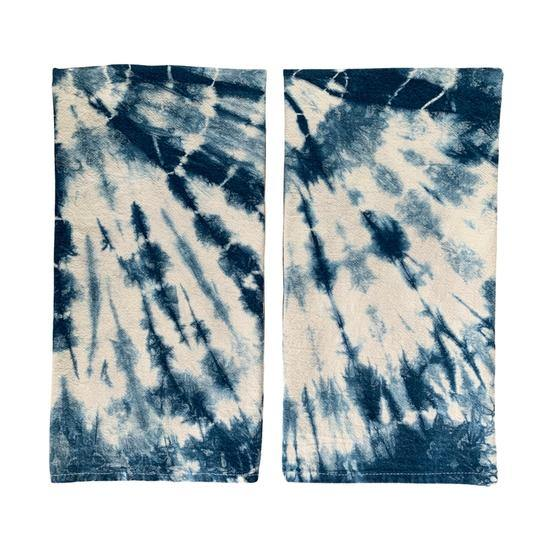 Indigo Dyed Shibori Tea Towel in Burst by Fiber + Mud