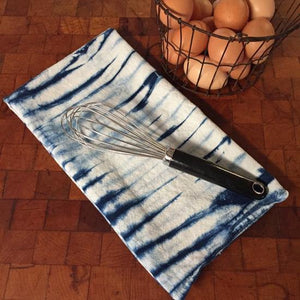 Indigo Dyed Shibori Tea Towel in Stripe by Fiber + Mud
