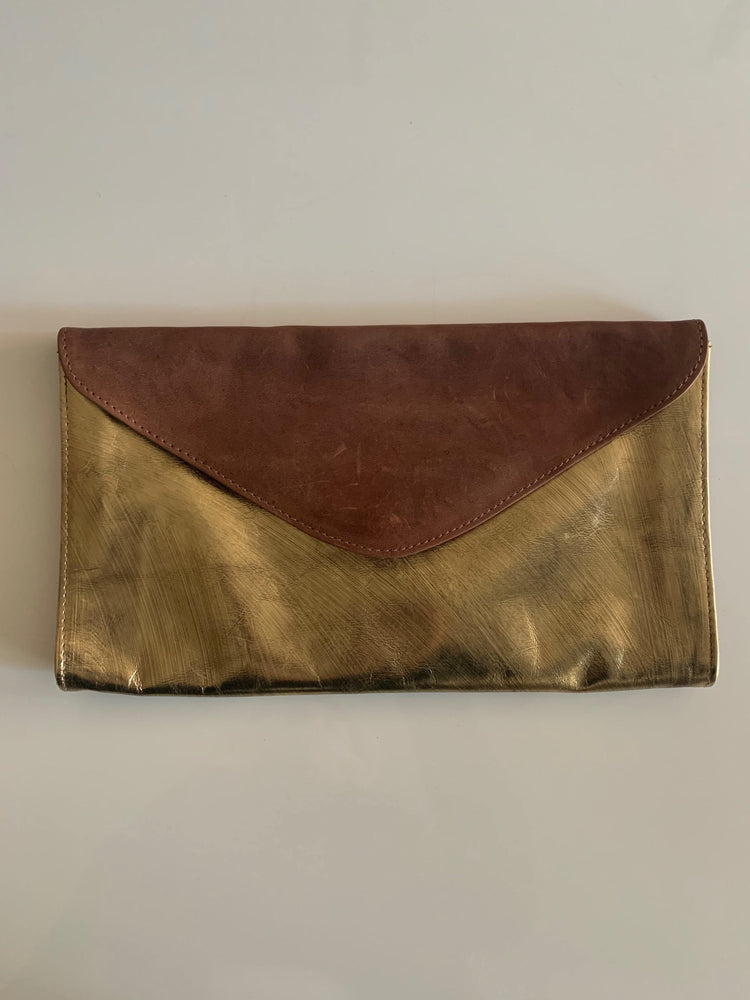Chappa Antique Gold Envelope Clutch